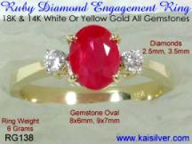 Engagement ruby diamond ring, gold